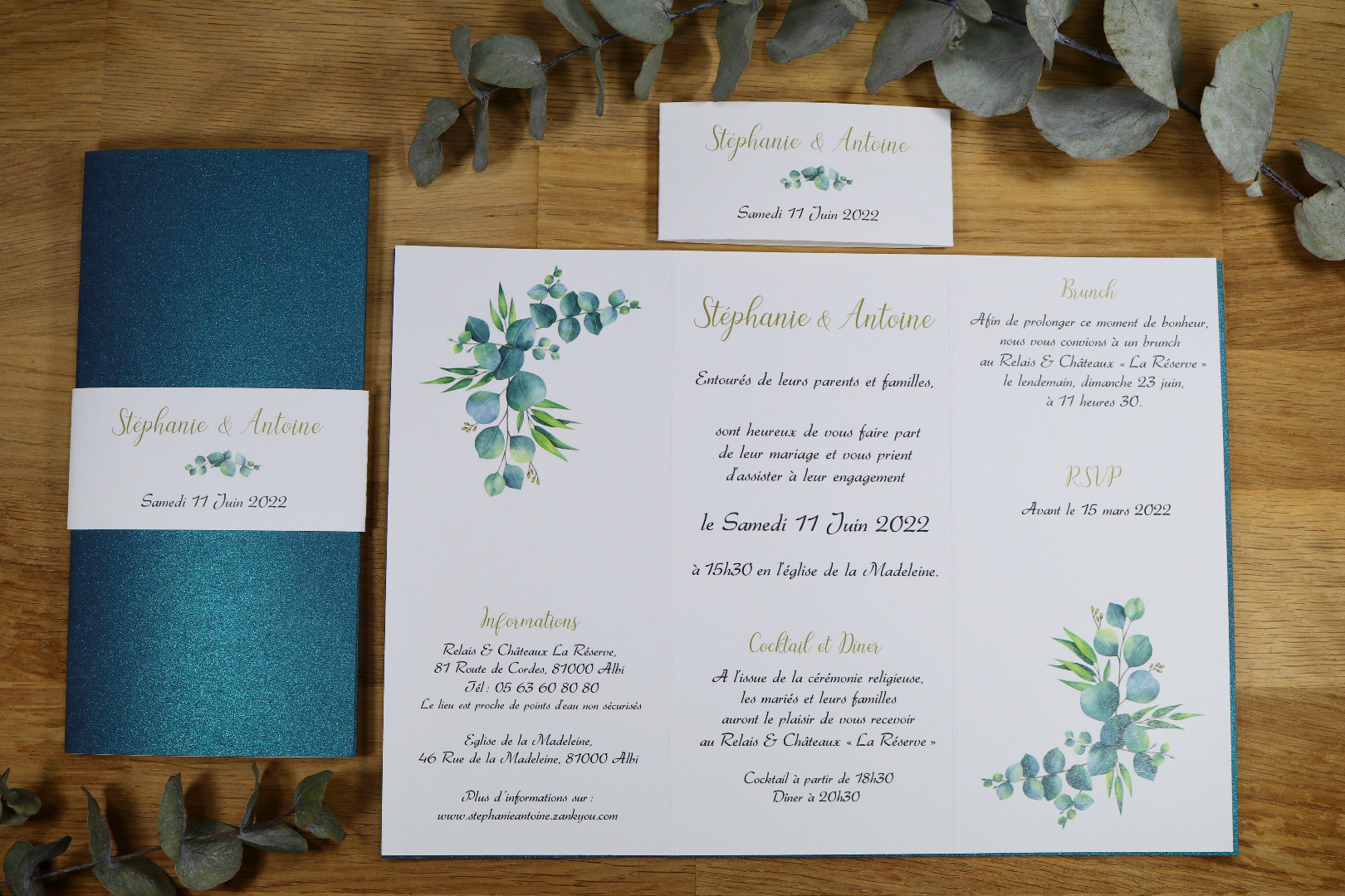 faire-part-mariage-eucalyptus : réalisation Atelier Camus