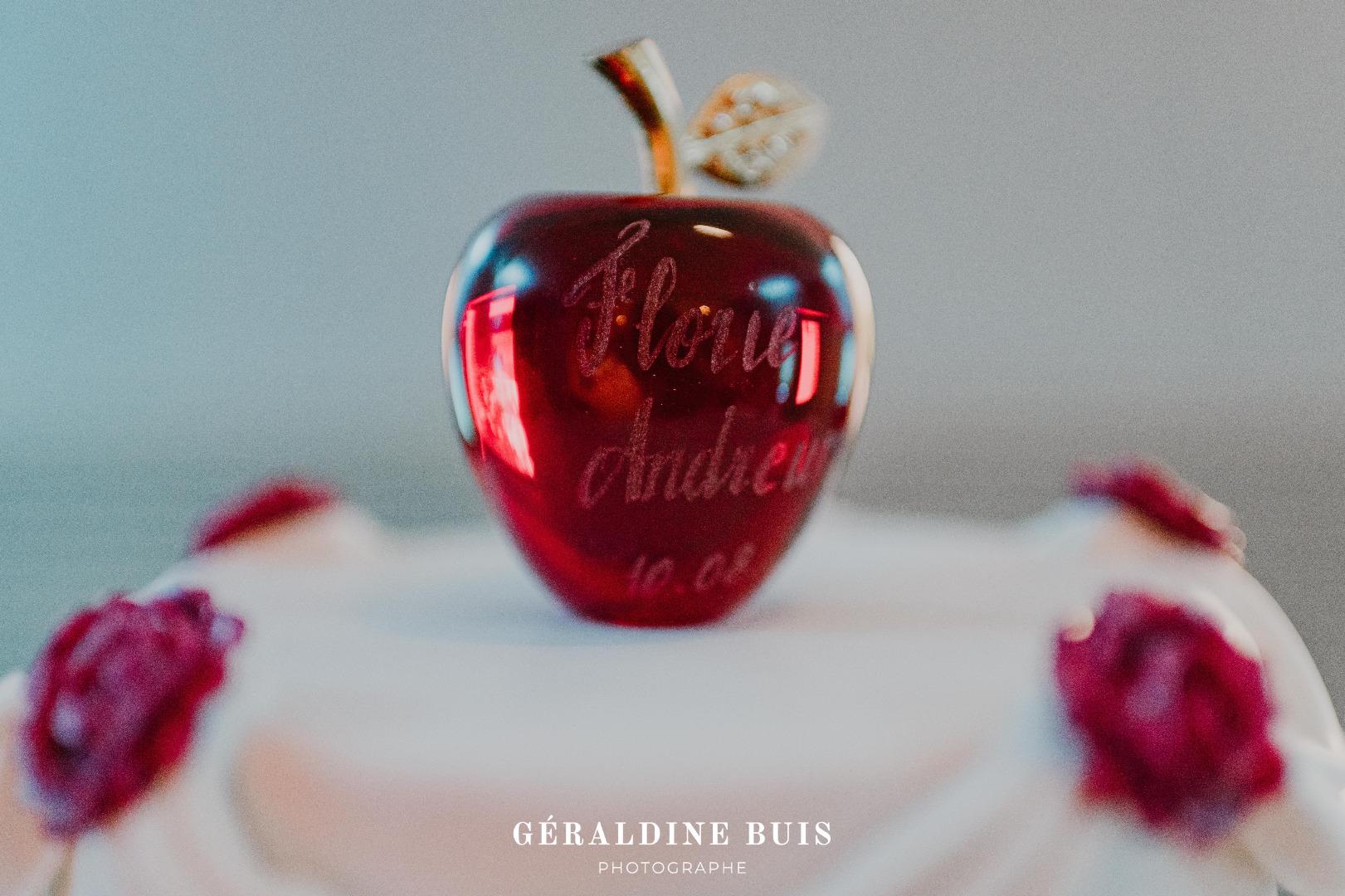 Wedding cake Topper personnalisé pomme en verre